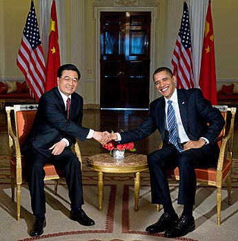 Chinese President Hu Jintao welcomed to the US